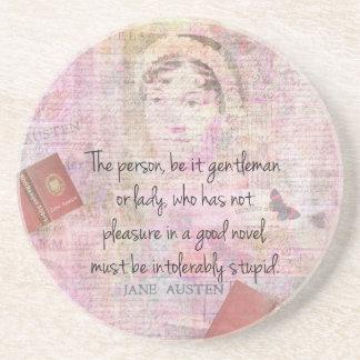 Jane Austen  Intolerably Stupid quote humor Sandstone Coaster