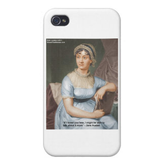 Jane Austen Loved U Less Quote On Gifts & Cards Case For iPhone 4