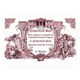 Jane Austen:Netherfield Ball Invite Cards Postcard