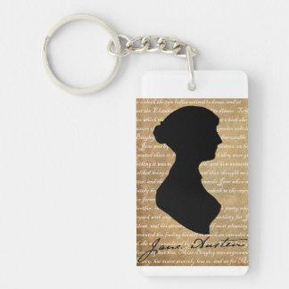 Jane Austen Page Silhouette Acrylic Key Chain