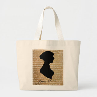 Jane Austen Page Silhouette Large Tote Bag