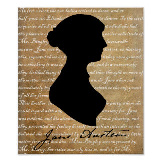 Jane Austen Page Silhouette Poster