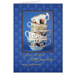 Jane Austen Party Tea Cups Blank Greeting Card