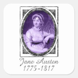 Jane Austen Calcomanías Cuadradas
