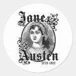 Jane Austen Pegatina Redonda
