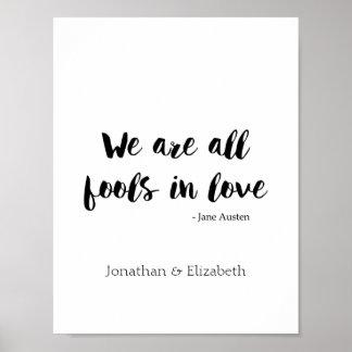 Jane Austen Personalized Romantic Quote Poster