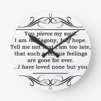 Jane Austen Persuasion Quote Round Clock