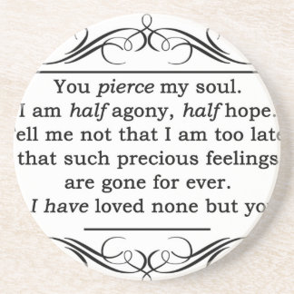 Jane Austen Persuasion Quote Sandstone Coaster