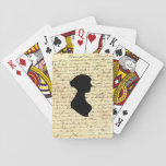 """Jane Austen Playing Cards<br><div class=""""desc"""">Standard deck of cards with a letter by Jane Austen and her silhouette overlayed.</div>"""