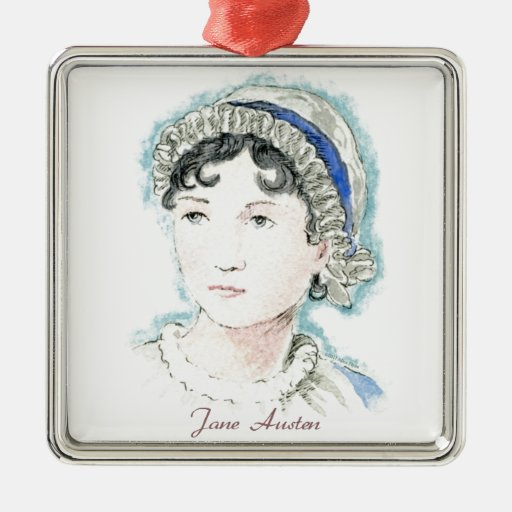 Jane Austen Portrait by Alice Flynn Square Metal Christmas Ornament