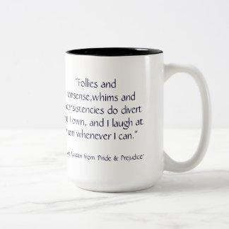 Jane Austen Portrait with P & P quote Two-Tone Coffee Mug
