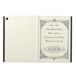 Jane Austen Pride and Prejudice First Line Quote iPad Air Cover