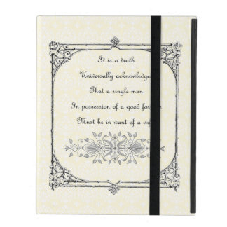 Jane Austen Pride and Prejudice First Line Quote iPad Cover
