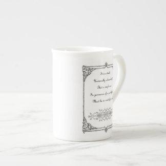 Jane Austen Pride and Prejudice First Line Quote Tea Cup