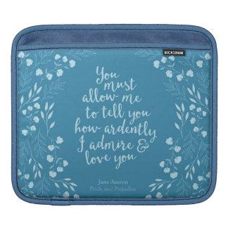 Jane Austen Pride and Prejudice Floral Love iPad Sleeve