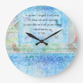 Jane Austen Pride and Prejudice Quote Large Clock