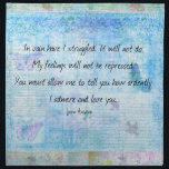 "Jane Austen Pride and Prejudice Quote Napkin<br><div class=""desc"">Romantic love quote from Pride and Prejudice by Jane Austen,   &quot;In vain have I struggled. It will not do. My feelings will not be repressed.You must allow me to tell you how ardently I admire and love you.&quot;</div>"