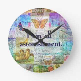 Jane Austen Pride and Prejudice Quote Round Clock