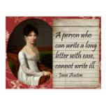 Jane Austen que escribe diseño inspirado Tarjeta Postal