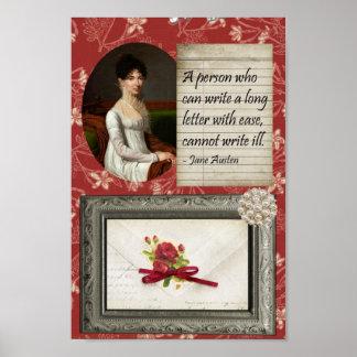 Jane Austen que escribe la impresión inspirada