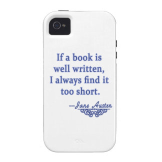 Jane Austen Quote about Books Case For The iPhone 4