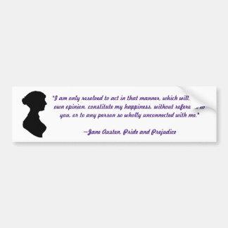 Jane Austen Quote Bumper Sticker Car Bumper Sticker