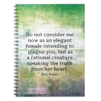 Jane Austen quote Pride and Prejudice  HONESTY Spiral Note Books