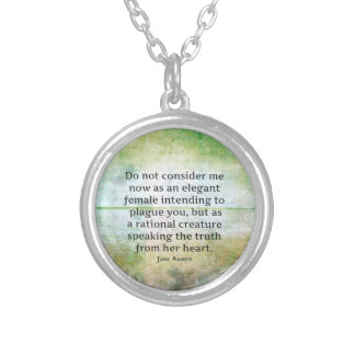 Jane Austen quote Pride and Prejudice  HONESTY Silver Plated Necklace