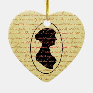 Jane Austen Quotes and Cameo Christmas Holiday Ceramic Ornament