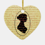 Jane Austen Quotes and Cameo Christmas Holiday Double-Sided Heart Ceramic Christmas Ornament