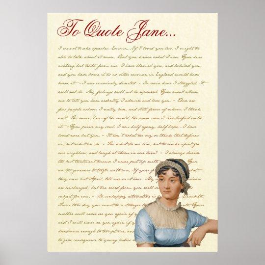 Jane Austen Quotes Pride and Prejudice, Emma, S&S Poster