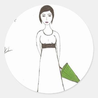Jane Austen rice Classic Round Sticker