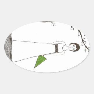 Jane Austen rice Oval Sticker