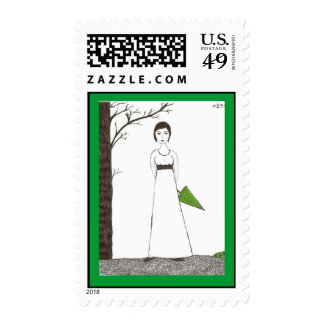 Jane Austen Rice Painting Postage Stamps