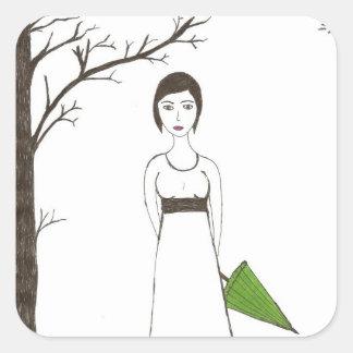 Jane Austen rice Square Sticker