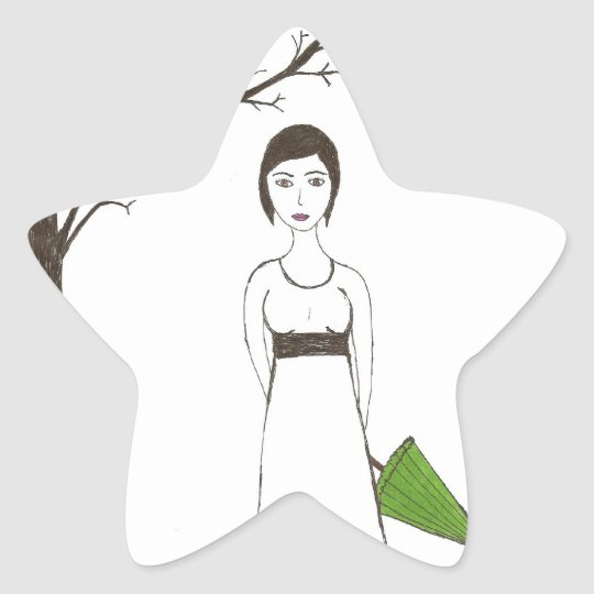 Jane Austen rice Star Sticker