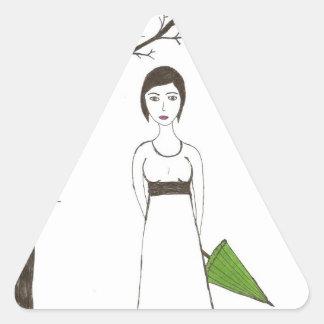 Jane Austen rice Triangle Sticker