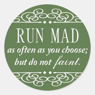 Jane Austen: Run Mad classic stickers (green)