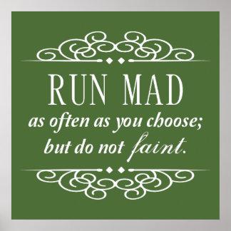 Jane Austen: Run Mad / Do Not Faint Poster (Green)