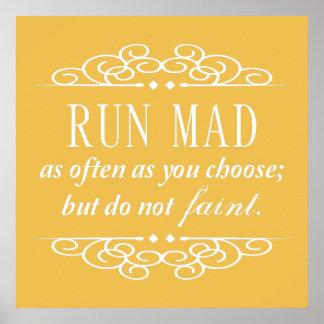 Jane Austen: Run Mad Quote Poster Print (Yellow)