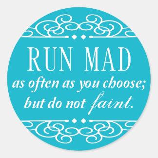 Jane Austen: Run Mad quote stickers (aqua blue)