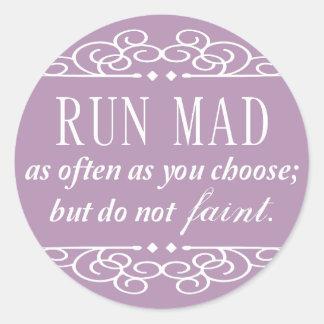 Jane Austen: Run Mad round stickers (pale purple)