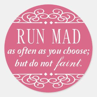 Jane Austen: Run Mad sticker sheets (pink)