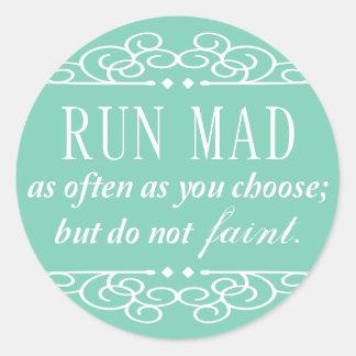 Jane Austen: Run Mad stickers (pale mint green)