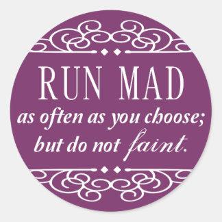 Jane Austen: Run Mad stickers (purple)
