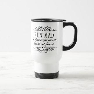 Jane Austen: Run Mad Travel Coffee or Tea Mug