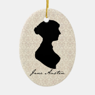Jane Austen silhouette profile Ceramic Ornament