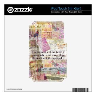 Jane Austen travel adventure quote Decals For iPod Touch 4G