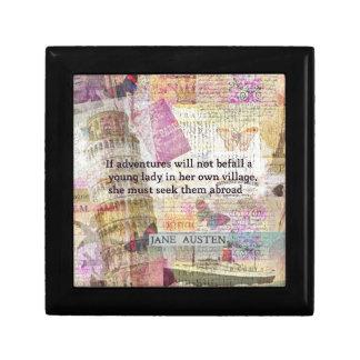 Jane Austen travel adventure quote Jewelry Box