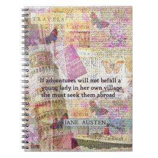 Jane Austen travel adventure quote Notebook